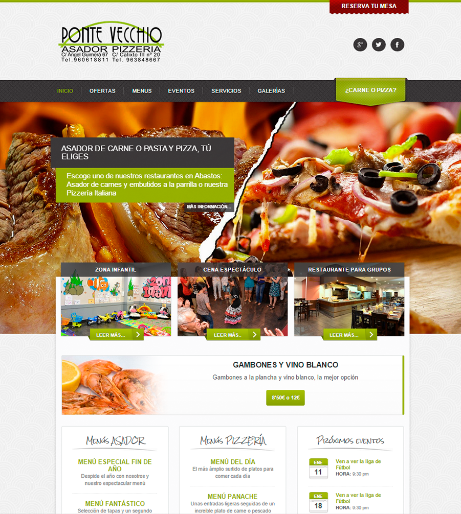 páginas Web Restaurantes Ponte Vecchio