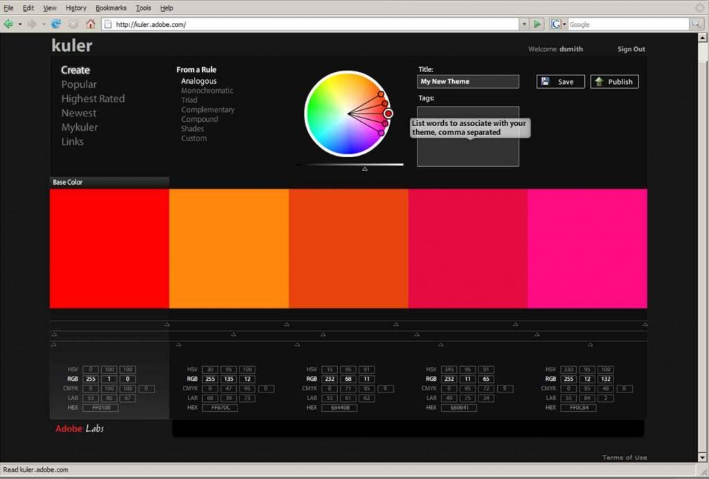 Kuler permite crear tu propia paleta de colores para tu estrategia de marketing visual